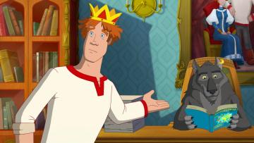 обоя иван царевич и серый волк 3, мультфильмы, парень, волк, книга, корона, картина