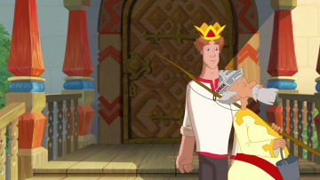 обоя иван царевич и серый волк 3, мультфильмы, парень, царь, удочка, ведро, дверь, корона