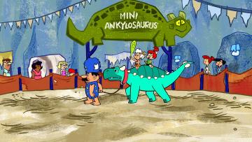 обоя мультфильмы, the flintstones, динозавр, дети, люди, аттракцион