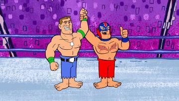 обоя мультфильмы, the flintstones, мужчина, двое, ринг