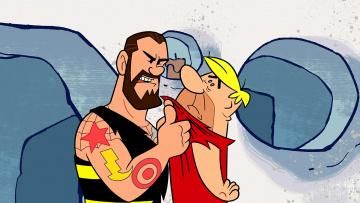 обоя мультфильмы, the flintstones, мужчина, двое, тату, эмоции