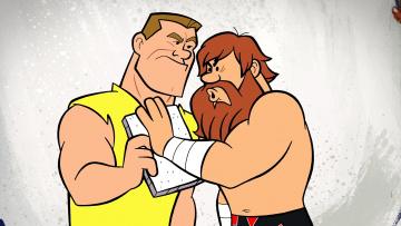 обоя мультфильмы, the flintstones, мужчина, двое, борода, эмоции