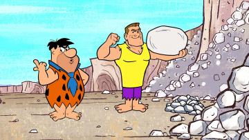 обоя мультфильмы, the flintstones, мужчина, двое, камень, галстук