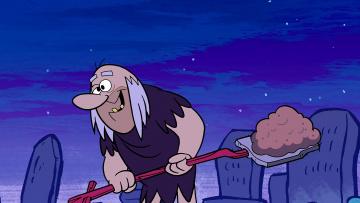 обоя мультфильмы, the flintstones, мужчина, лопата, ночь, могила