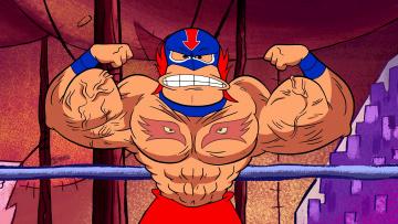 обоя мультфильмы, the flintstones, мужчина, мускулы, маска