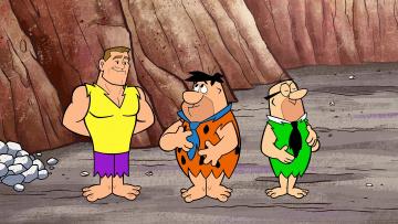 обоя мультфильмы, the flintstones, мужчина, трое
