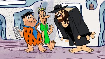 обоя мультфильмы, the flintstones, мужчина, трое, шляпа, очки, галстук, эмоции