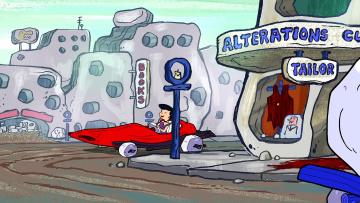 обоя мультфильмы, the flintstones, женщина, машина, магазин, витрина, здание