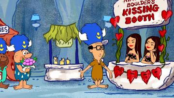 обоя мультфильмы, the flintstones, женщина, мужчина, сердце, цветы