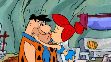 обоя мультфильмы, the flintstones, женщина, мужчина, поцелуй