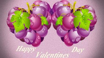 обоя праздничные, день святого валентина,  сердечки,  любовь, листья, виноград, фон