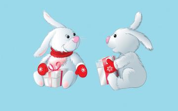 обоя рисованное, минимализм, кролики, фон