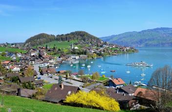 Картинка швейцария берн шпиц города пейзажи дома горы озеро суда