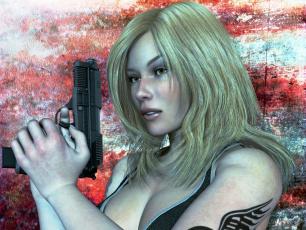 Картинка 3д+графика фантазия+ fantasy оружие фон взгляд девушка