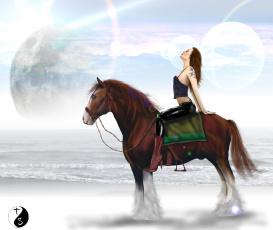 Картинка рисованные люди конь девушка