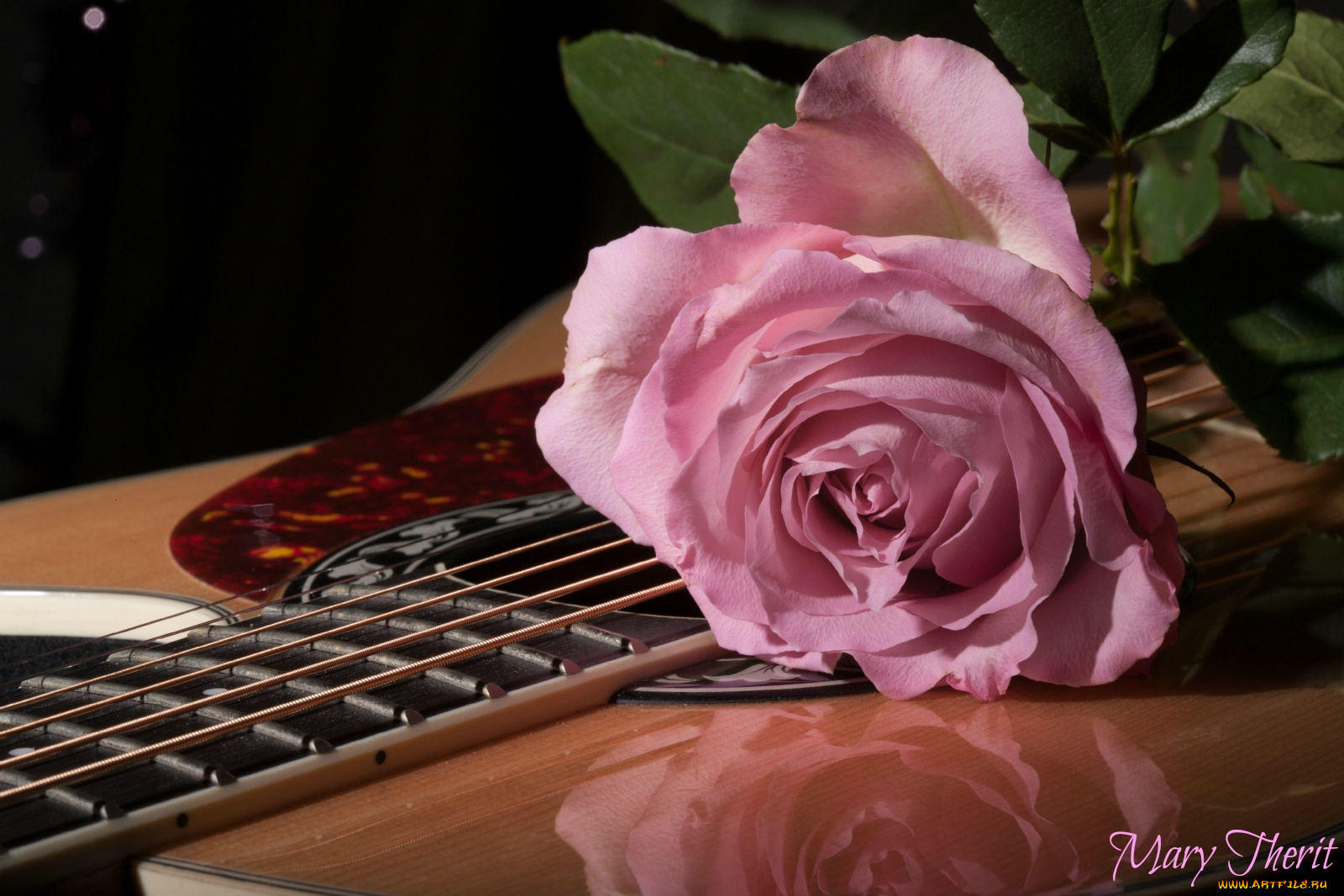 Открытка гитара и цветы, открытки своими