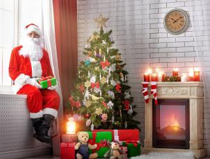 обоя праздничные, дед мороз,  санта клаус, подарки, свечи, санта, камин, елка
