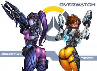 обоя видео игры, overwatch, фон, взгляд, униформа, оружие, девушки