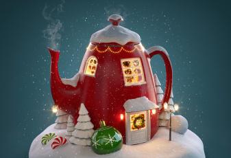обоя праздничные, 3д графика , новый год, чайник