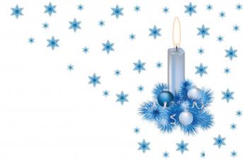 обоя праздничные, векторная графика , новый год, снежинки, свеча