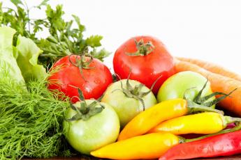обоя еда, овощи, укроп, перец, морковь, стручки, помидоры