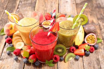 обоя еда, напитки, персик, черника, клубника, малина, смузи, киви