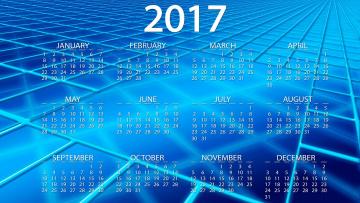 обоя календари, рисованные,  векторная графика, фон, 2017, год, синий, вектор, дата, клетки, календарь, голубой