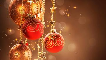 обоя праздничные, шары, звездочки, блики
