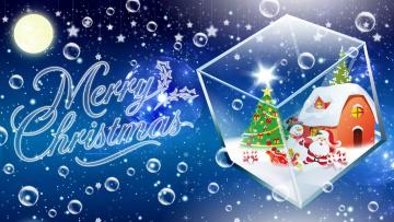 обоя праздничные, векторная графика , новый год, куб, дед, мороз, снеговик