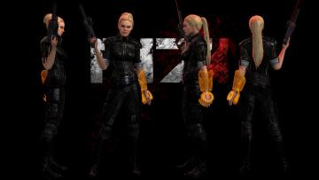 обоя видео игры, mass effect - occitania,  dae hyun and cassius, девушка, оружие, взгляд, униформа, фон