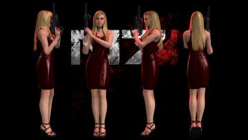 обоя видео игры, mass effect - occitania,  dae hyun and cassius, оружие, платье, взгляд, фон, девушка