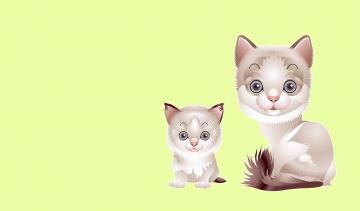 обоя рисованное, животные,  коты, котята