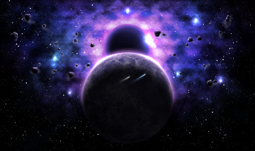 обоя космос, арт, вселенная, планеты, галактика, звезда