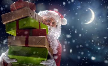 обоя праздничные, дед мороз,  санта клаус, снег, подарки, коробки, луна, санта
