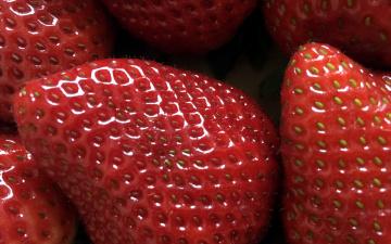 обоя еда, клубника,  земляника, макро, ягоды