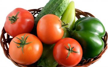 обоя еда, овощи, перец, корзинка, огурцы, помидоры
