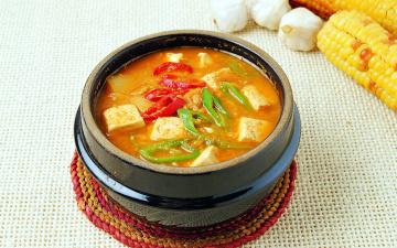 обоя еда, первые блюда, чеснок, кукуруза, перец, суп, тофу