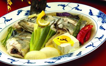 обоя еда, первые блюда, рыбный, суп, лимон, тофу, перец