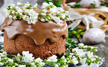 обоя еда, пироги, цветы, пирог, глазурь