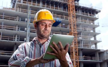 обоя мужчины, - unsort, каска, строитель, планшет