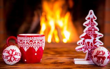 обоя праздничные, - разное , новый год, шарики, чашка, огонь, ёлка, вязание