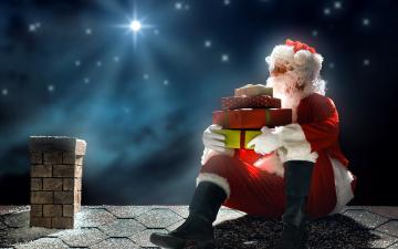 обоя праздничные, дед мороз,  санта клаус, подарки, санта, труба, крыша
