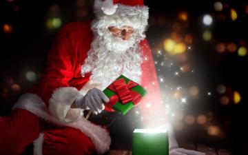 обоя праздничные, дед мороз,  санта клаус, санта, коробка, подарок