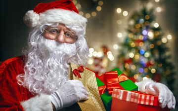Картинка праздничные дед+мороз +санта+клаус санта боке подарки