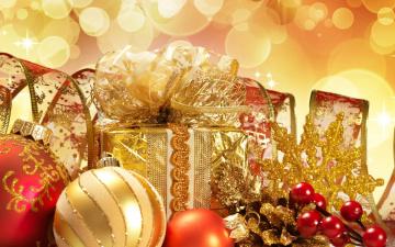 обоя праздничные, подарки и коробочки, шарики, блики, ягоды, лента, коробка, снежинка