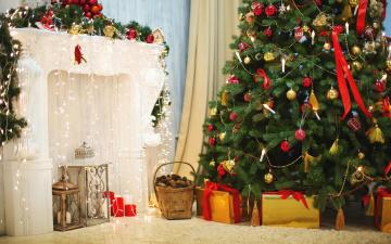 обоя праздничные, Ёлки, корзина, подарки, ёлка, коробки, камин, шишки