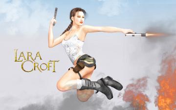 обоя видео игры, lara croft and the guardian of light, пистолет, фон, девушка, взгляд