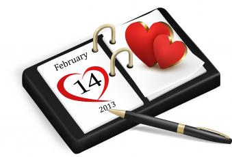 Картинка праздничные день св валентина сердечки любовь календарь дата ручка