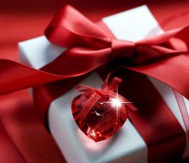 Картинка праздничные день+святого+валентина +сердечки +любовь подарок блики алый бант сердечко