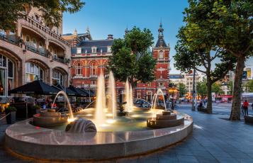 Картинка города амстердам+ нидерланды фонтан
